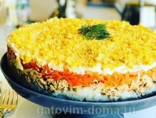 Готовый салат мимоза по классическому рецепту