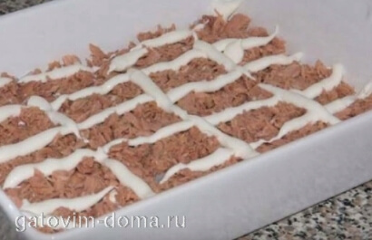 Заправка майонезом сеточкой для первого слоя салата мимаоза