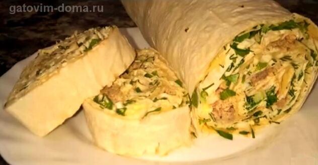 Пошаговый рецепт вкусного лаваша мимоза с сайрой