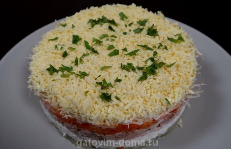 Рецепт салата мимоза с горбушей, сыром и сливочным маслом