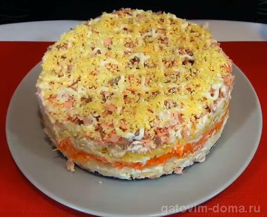 Вкусный и праздничный салат мимоза со свежей вареной горбушей