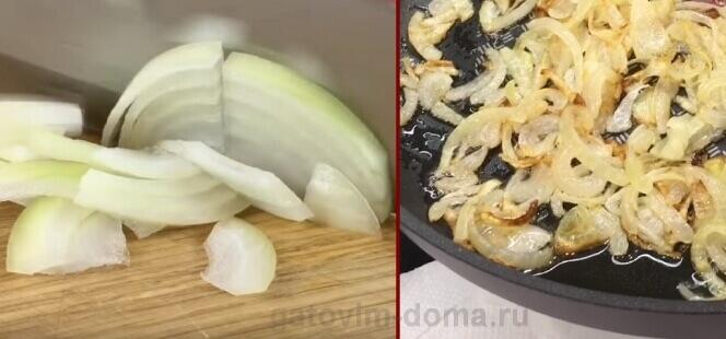 Нарезка и жарка репчатого лука на растительном масле