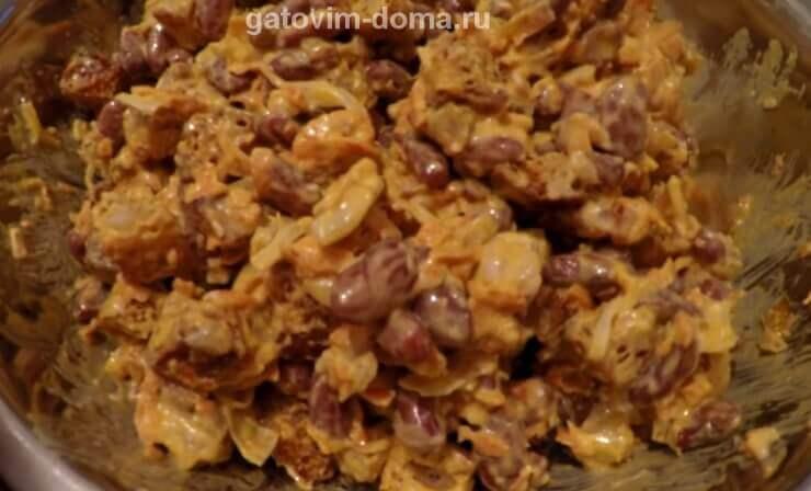 Пошаговый рецепт приготовления салата обжорка с фасолью