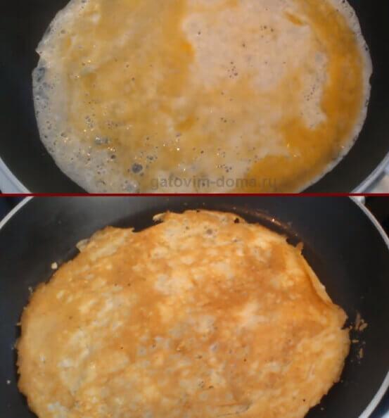 Делаем яичные блины для салата Обжорка с курицей