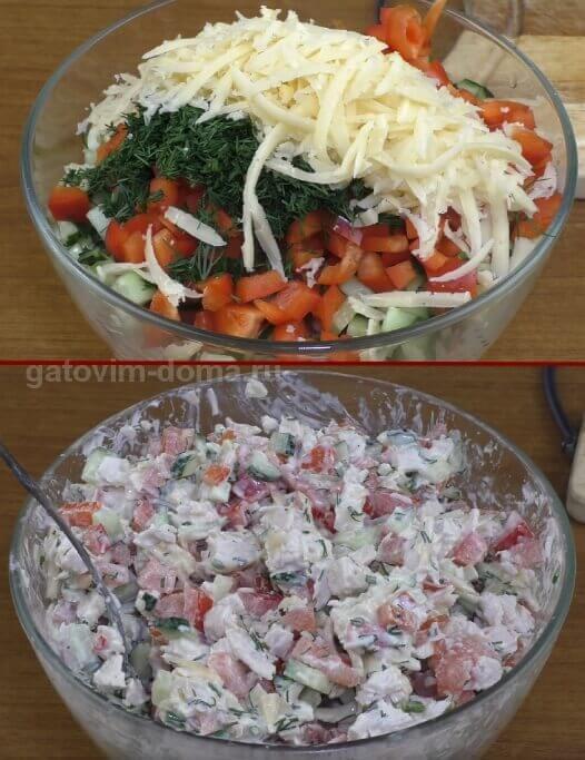 Собираем все ингредиенты в общий салат Обжорка