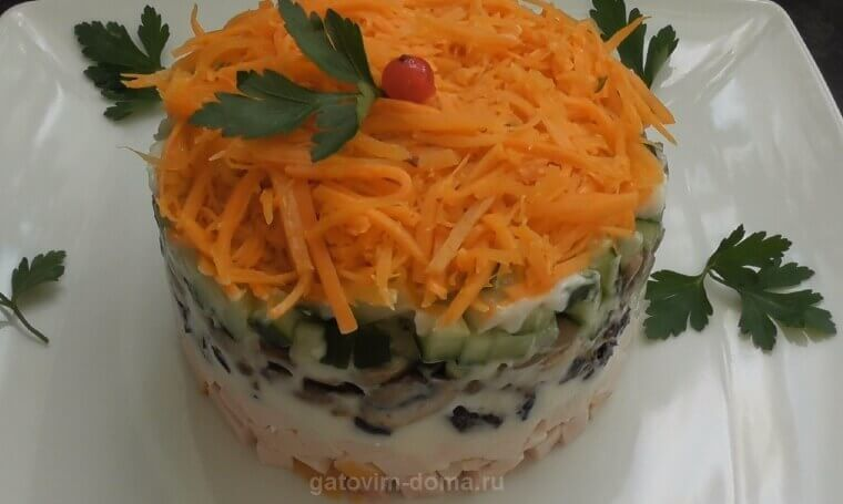 Пошаговый рецепт приготовления салата Обжорка с курицей и черносливом