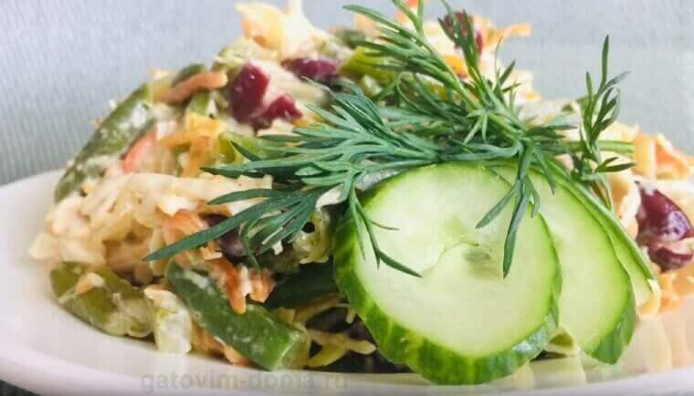 Как создать салат Обжорка с курицей и фасолью