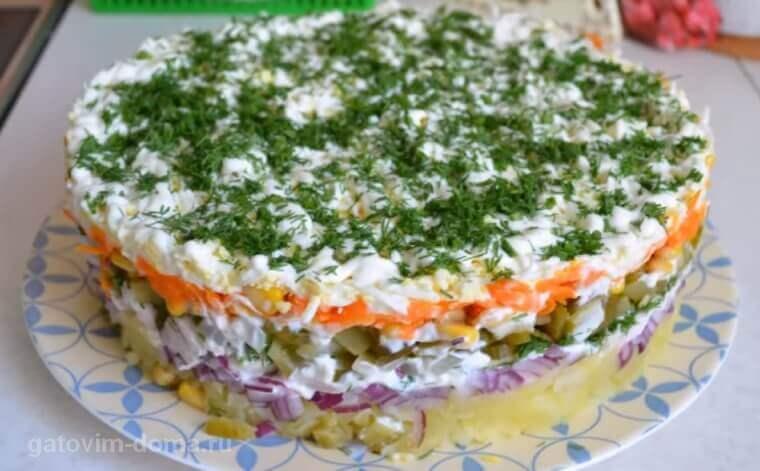 Подробный рецепт приготовления салата Обжорка с курицей и кукурузой