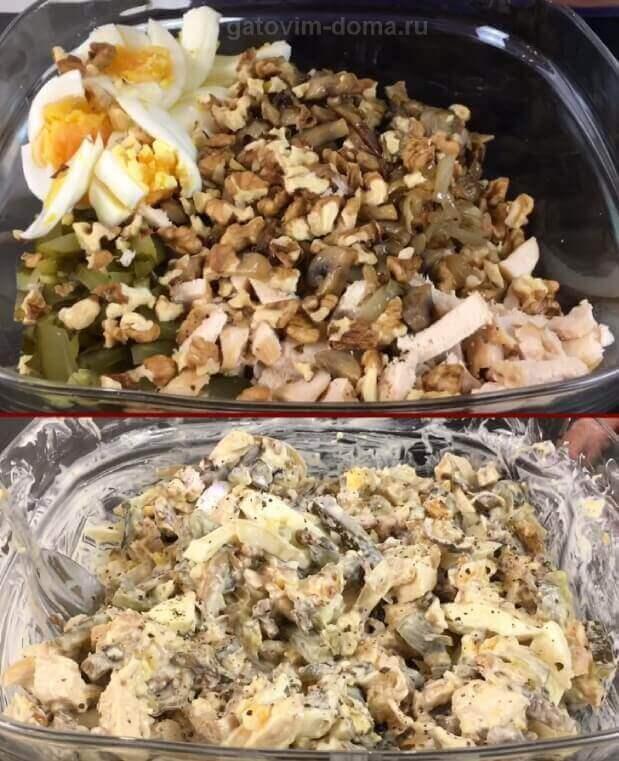 Приготовление куриного салата Обжорка с вареными яйцами