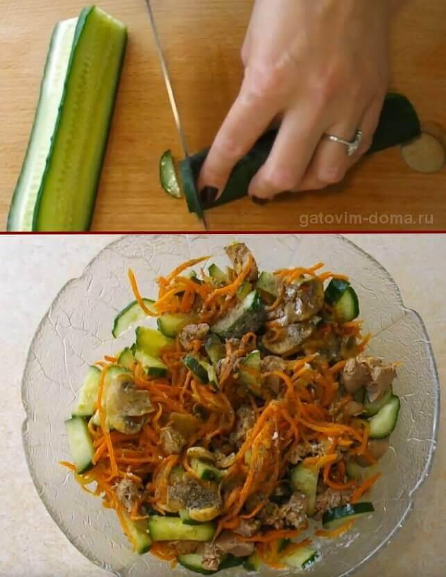 Нарезка огурца и перемешивание ингредиентов для салата Обжорка