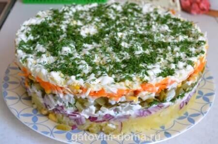 Пошаговые рецепты с фото приготовления салата Обжорка с курицей