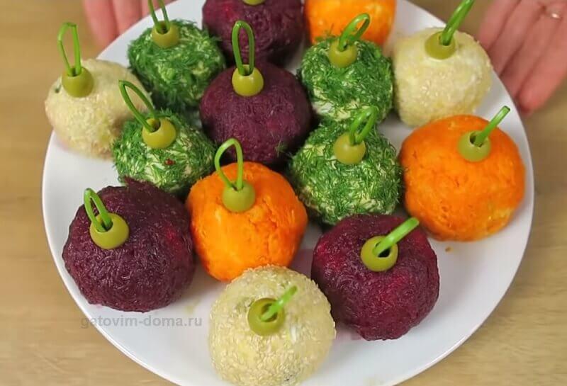 Подробный рецепт приготовления новогоднего салата елочные шарики (игрушки)