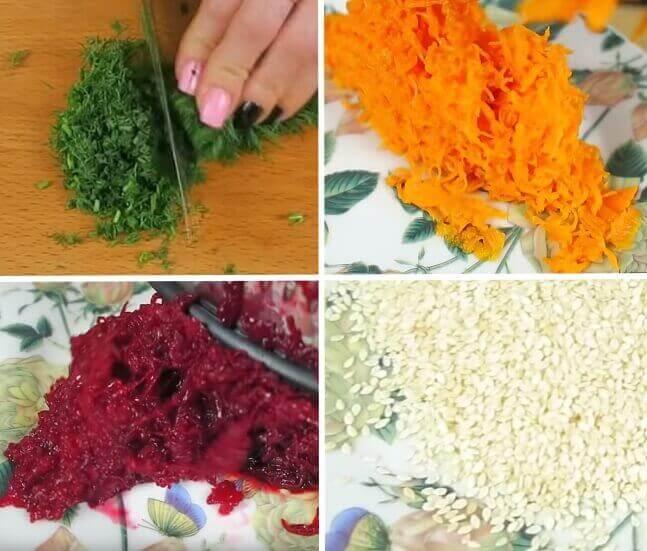 Подготавливаем ингредиенты для панировки салата в виде елочных шариков