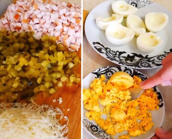 Подготовка основных ингредиентов для приготовления бесподобно вкусного салата новогодний сапожок