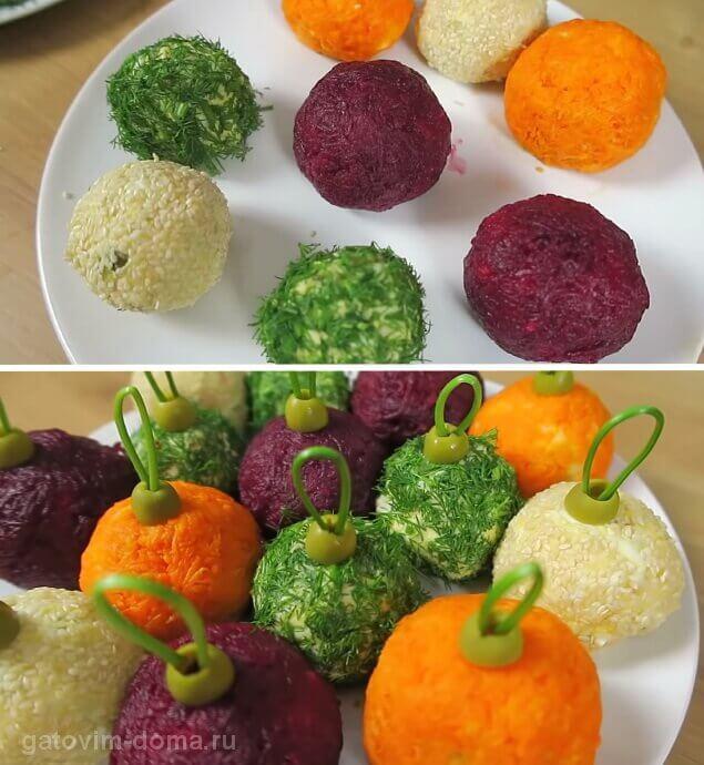 Создаем новый красивый салат новогодние игрушки на праздничный стол