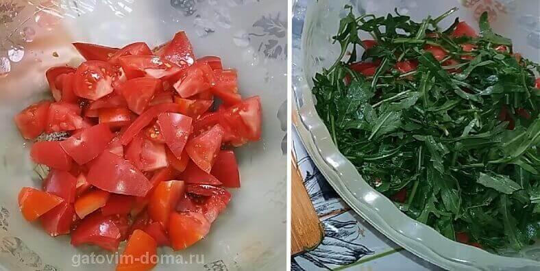 Нарезка красных помидоров и рукколы для салата