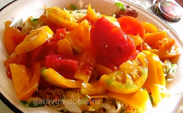 Нарезанные помидоры для приготовления салата Осенний