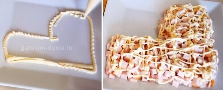 Последовательность выкладывание слоев в салате новогодний сапожок Дедушки Мороза