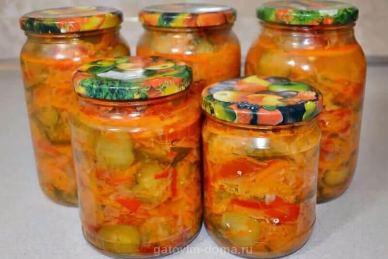 Пошаговый рецепт с фото по приготовлению салата Кубанский на зиму из огурцов и помидор