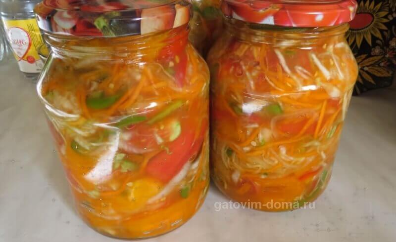 Готовим по пошаговому рецепту очень вкусный салат Осенний на зиму с капустой
