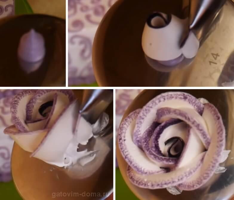 Формируем красивый цветок из крема в форме розочки