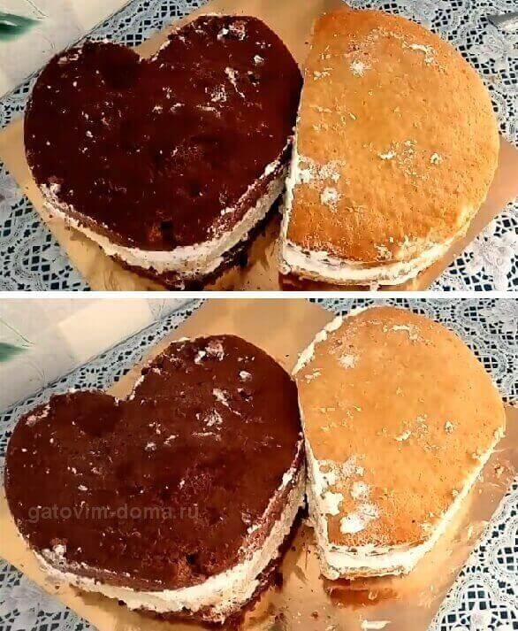 Вырезаем формы тортиков в виде сердца ко дню всех влюбленных