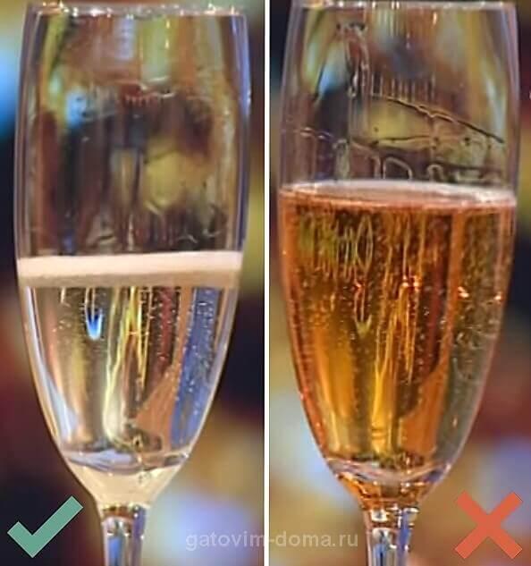 Как проходит игра пузырьков в бокале качественного и поддельного шампанского