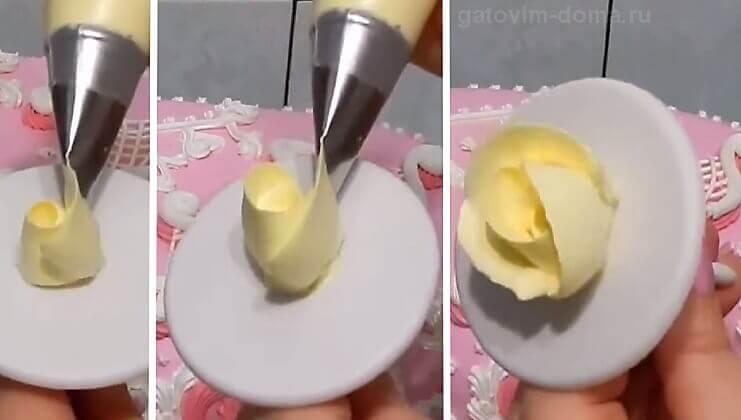 Делаем продольные листья розы из желтого крема на кулинарном гвозде