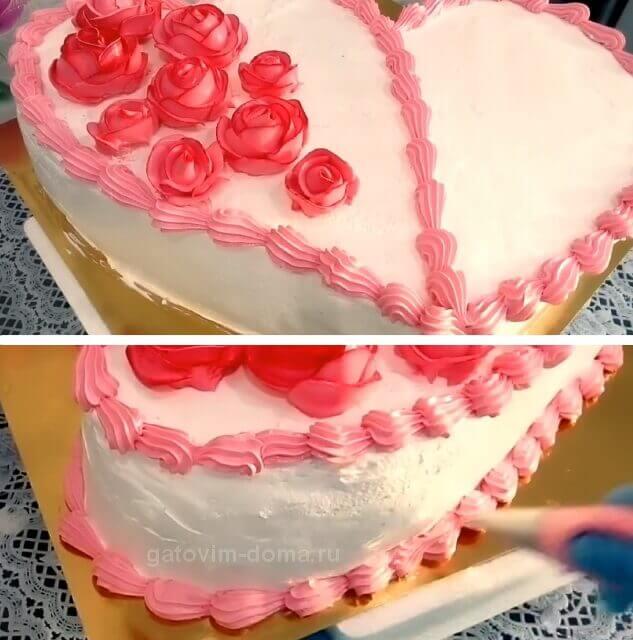 Полоски розовых небольших ракушек на торте