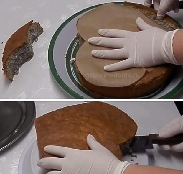 Нарезаем бисквит по трафарету в виде сердца