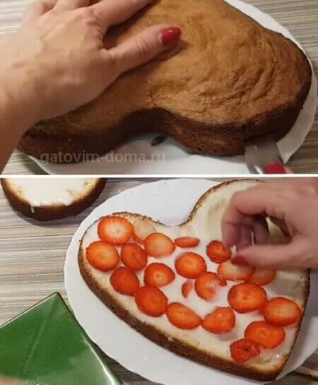 Нарезаем пирог на части для последующей сборки торта