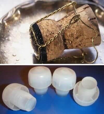 Как выглядит пластиковая и корковая пробка из под шампанского