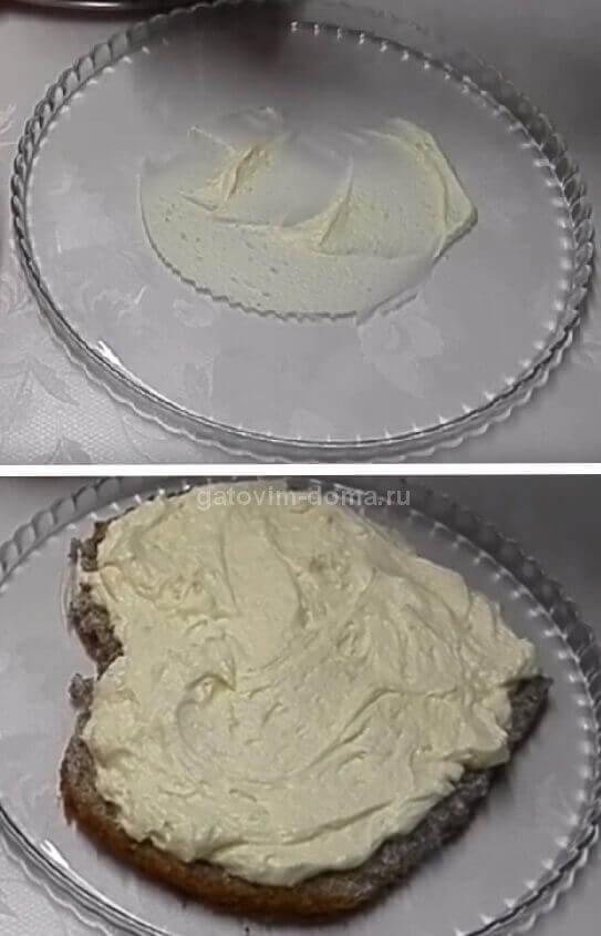 Процесс сборки вкусного домашнего торта с маком в виде сердца