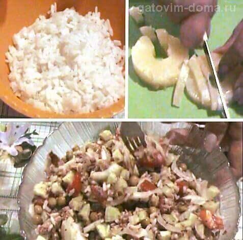 Белый рис и консервированный ананас для приготовления салата ко дню Валентина