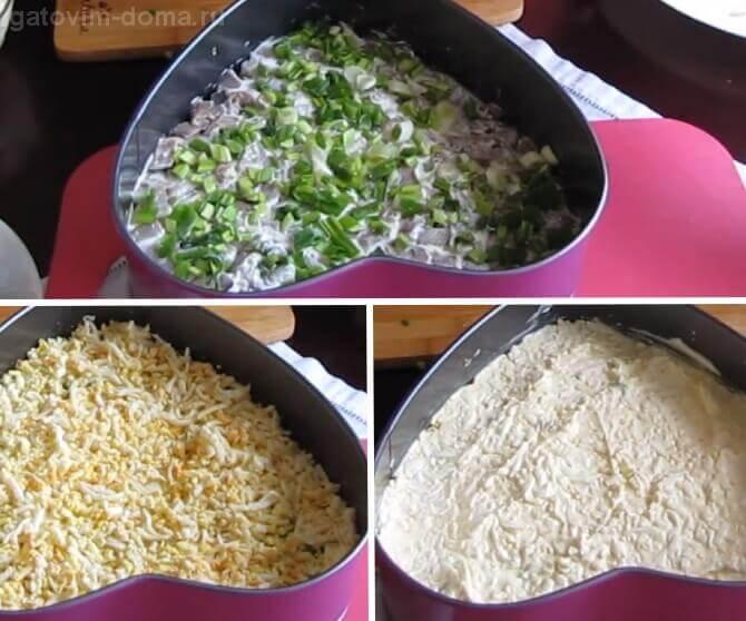 Слои зеленого лука и натертого куриного яйца в салате