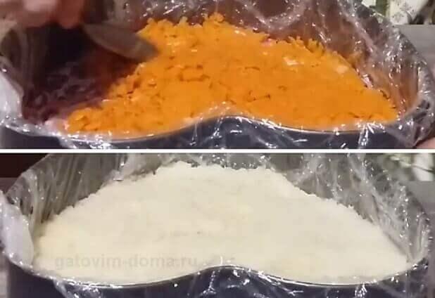 Слой отварной морковки и картошки в форме сердечка для приготовления салата
