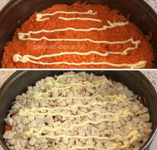 Слой отварной морковки и курицы в салате