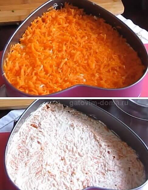 Слой натертой вареной морковки для салата