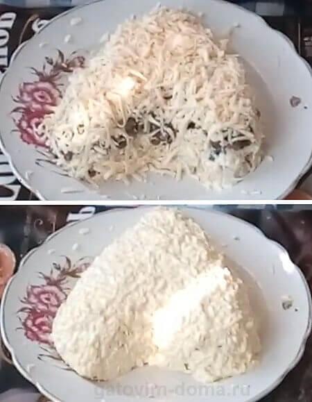 Слой натертого сыра и куриный яиц в праздничном салате