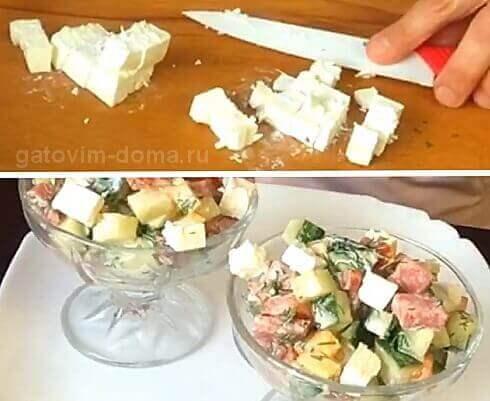 Нарезаем сыр фета на небольшие кубики и добавляем в салат