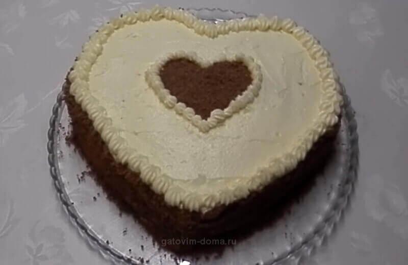 Пошаговый рецепт с фото приготовления торта без мастики ко дню святого Валентина