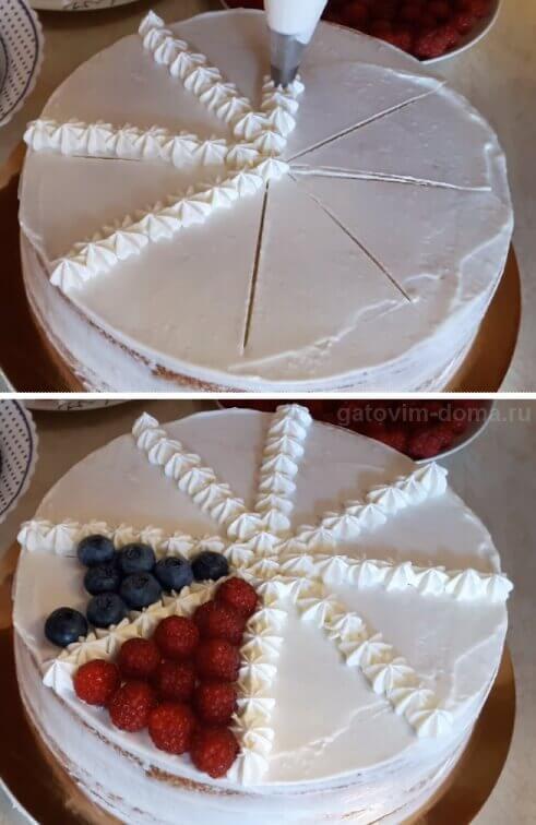Красиво украшаем торт взбитыми сливками и ягодами