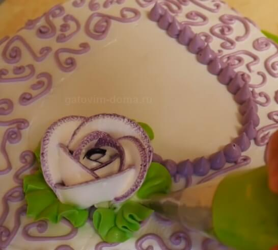 Высаживаем розу с листиками на торт ко дню святого Валентина