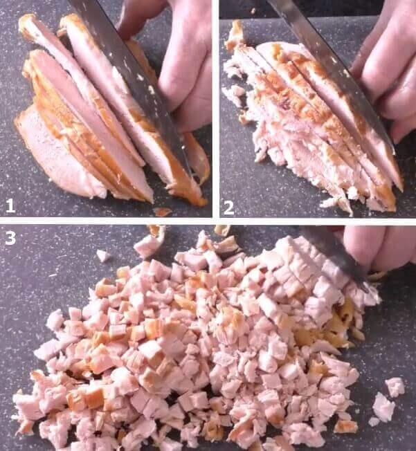 Нарезка копченой курицы в виде небольших кубиков