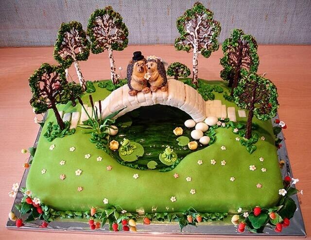 Очень красивый торт на тематику природы и любви к окружающему миру