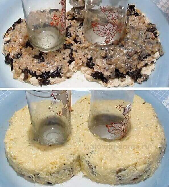 Слой шампиньонов с луком и натертого сыра для салата