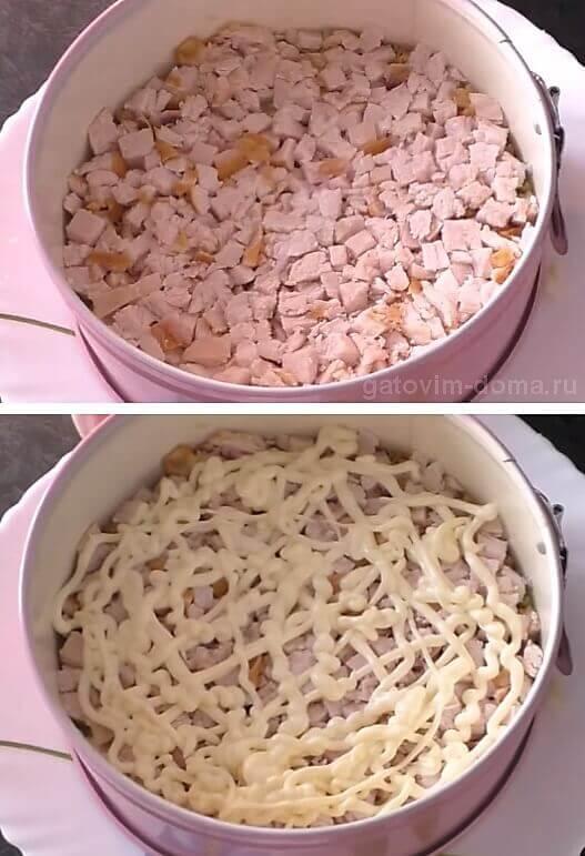 Слой измельченного куриного филе в майонезе для праздничного салата