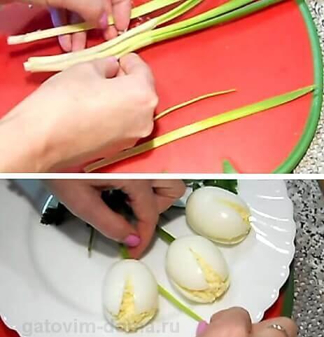 Украшаем салат стеблями лука