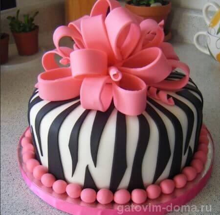 Красивый праздничный тортик с мастикой