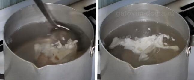 Варка яйца без скорлупы в кипящей воде